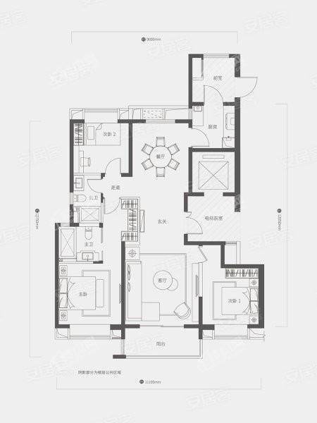 A1户型, 3室2厅2卫1厨, 建筑面积约143.00平米