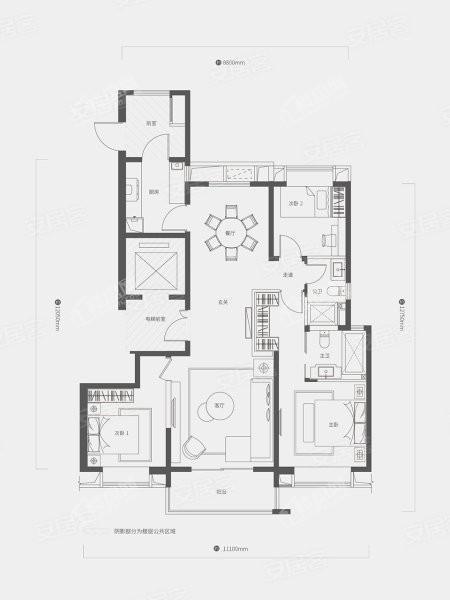 A2户型, 3室2厅2卫1厨, 建筑面积约143.00平米