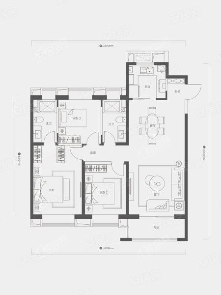 B户型, 3室2厅2卫1厨, 建筑面积约130.00平米