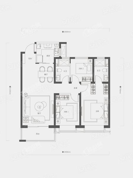 C户型, 3室2厅2卫1厨, 建筑面积约119.00平米