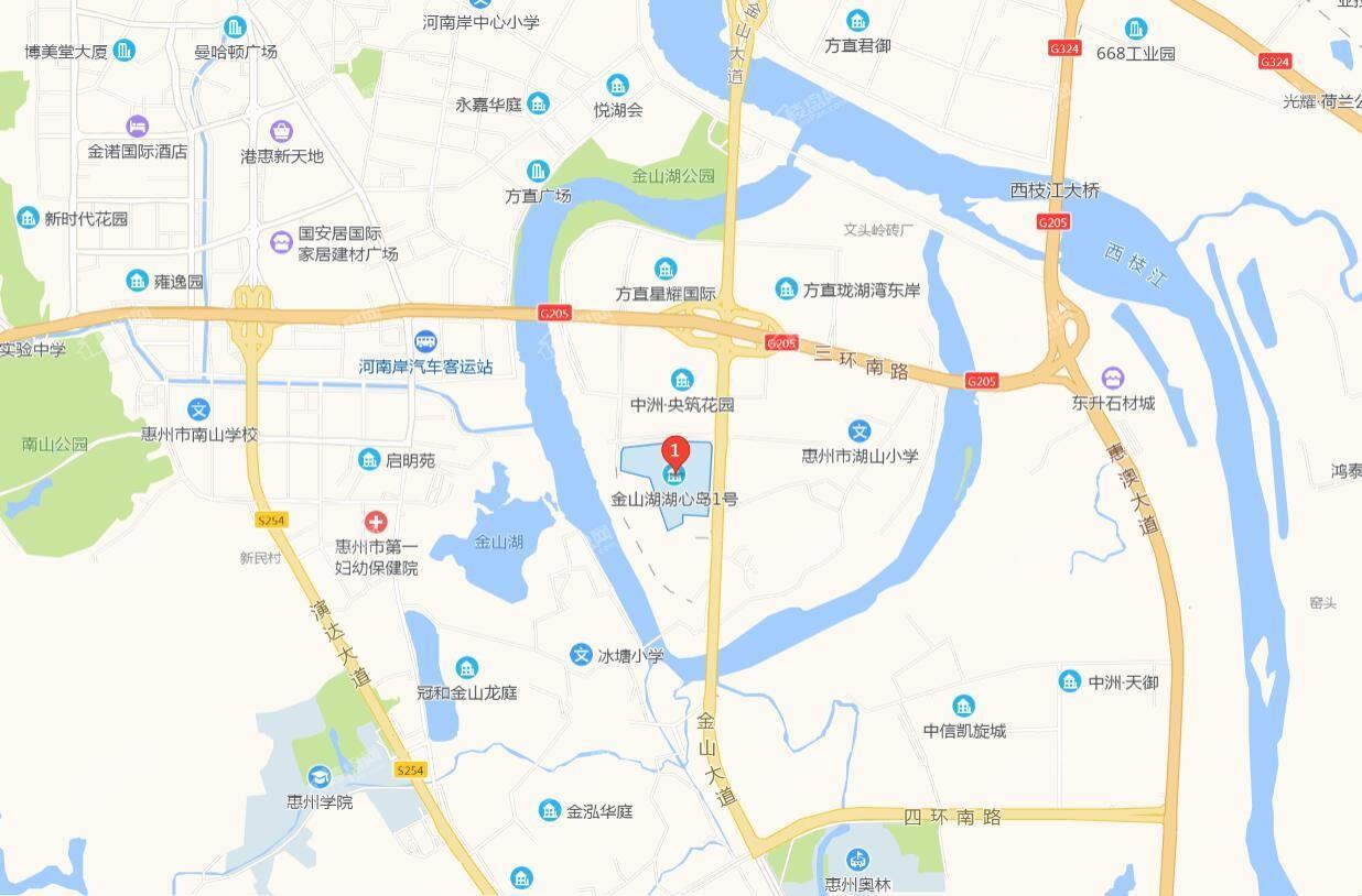 鑫洲湖心岛1号位置图