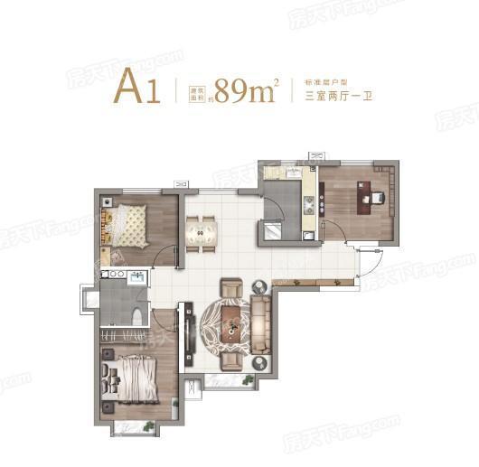 北京华发·中央公园89平方米A1户型 3室2厅1卫1厨