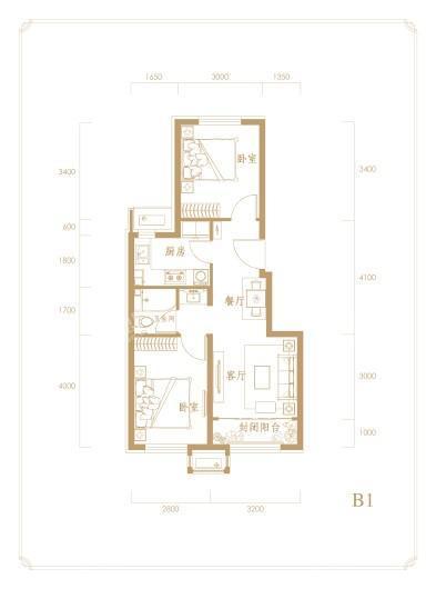 中海首钢·金裕雅苑B1户型 2室2厅1卫1厨