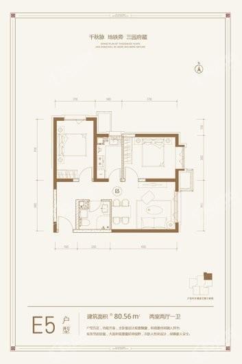 金悦府E5户型 2室2厅1卫1厨