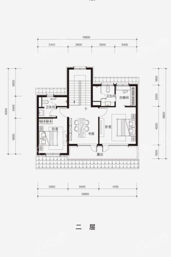 融创·阿朵小镇D-N户型二层 3室3厅3卫1厨
