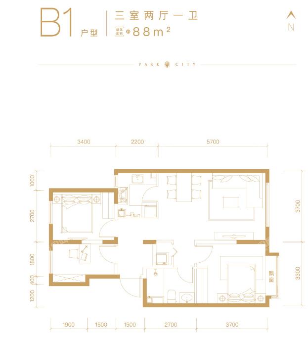 北京橡树珑湾B1户型3室2厅1卫约88平米