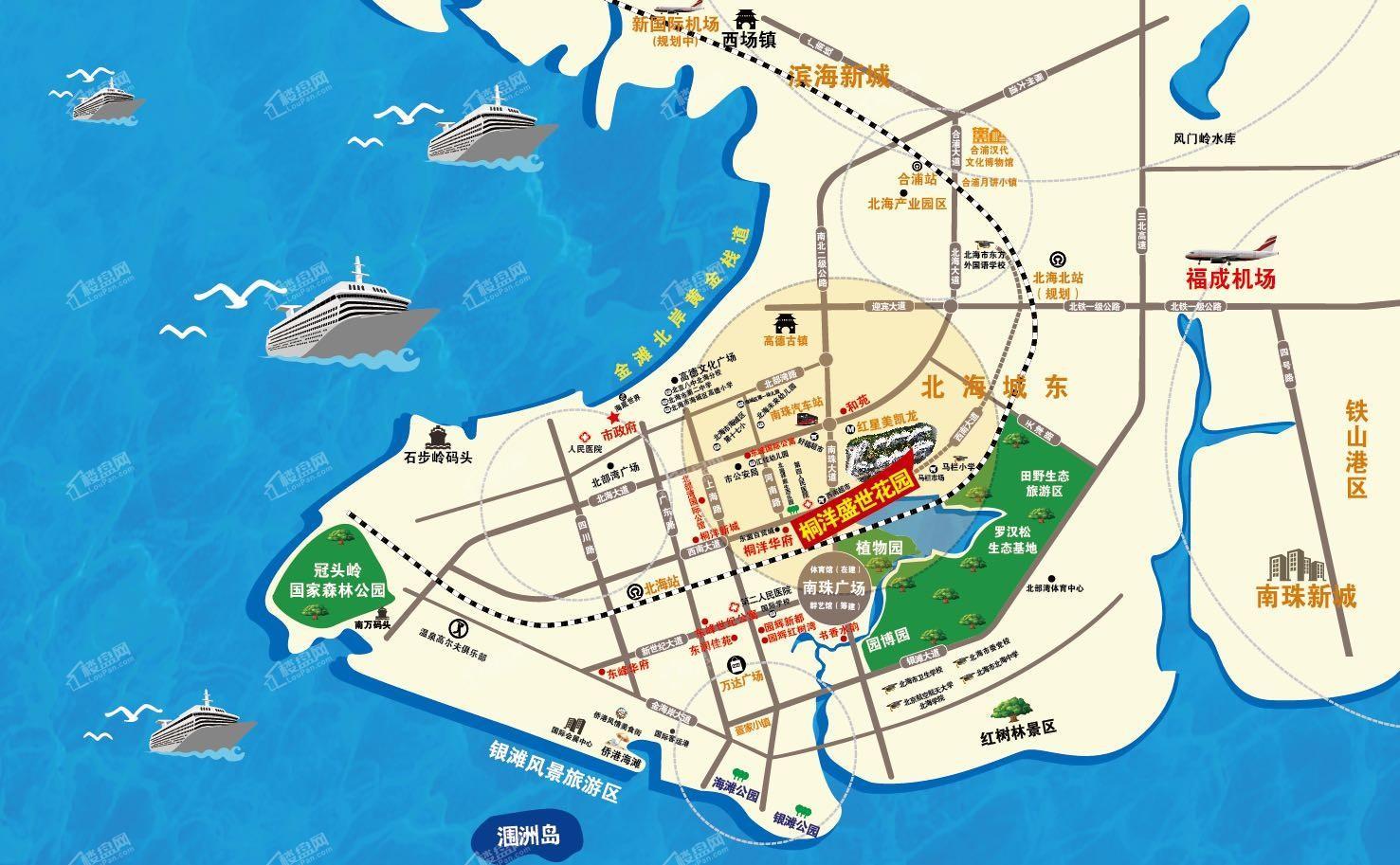 北海桐洋盛世花园区位图