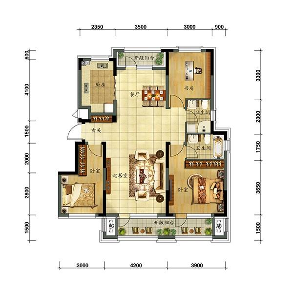 远洋仰山项目洋房产品125户型图