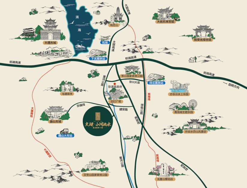 大理小河淌水温泉小镇位置图