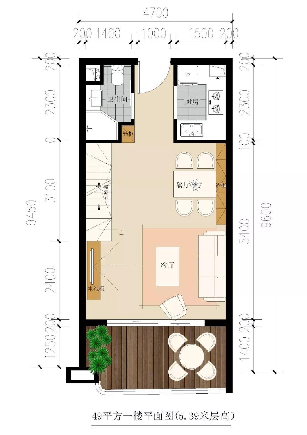 洱海寰球时代49平公寓户型图