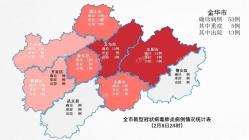 金华市53例新型冠状病毒肺炎确诊病例分布