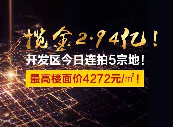 攬金2.94億!開發區今日連拍5宗地!最高樓面價4272元/㎡!