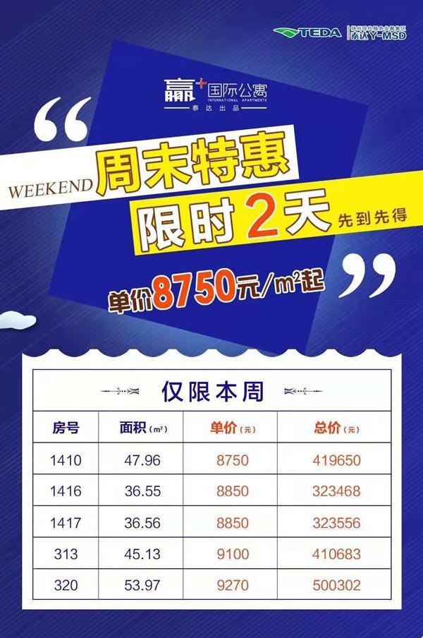 扬州泰达公寓周末特惠【特价房】!限时两天,单价8750平米!