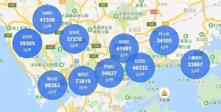 深圳七月10个区170个热门小区房价出炉!