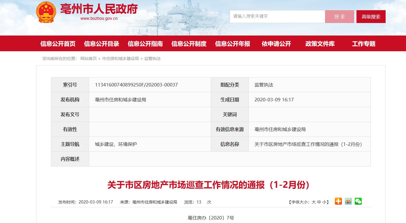 亳州碧桂园等地产企业,疫情期间无视市委政府和相关部门规定,现通告处罚发布
