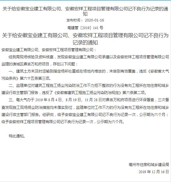 谯城区鼎吉万和府项目因工地违规操作,建工公司及管理公司记不良行为记录一次,公示期为六个月!