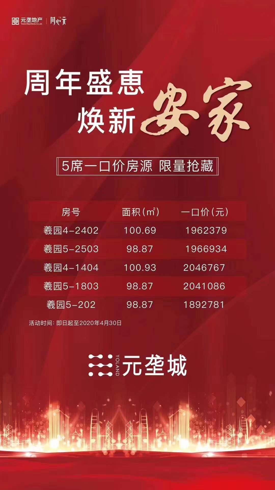 元垄城:周年盛惠,5席一口价房源!