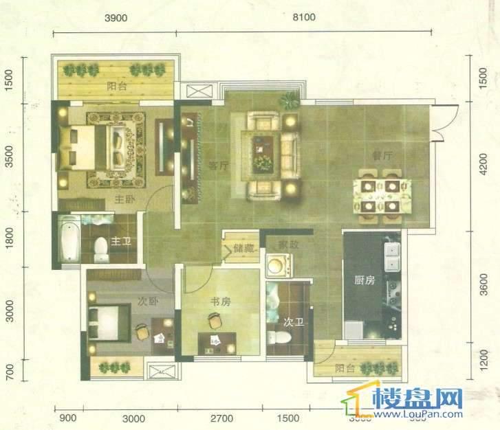 丰球·豪庭户型图3室2厅1卫