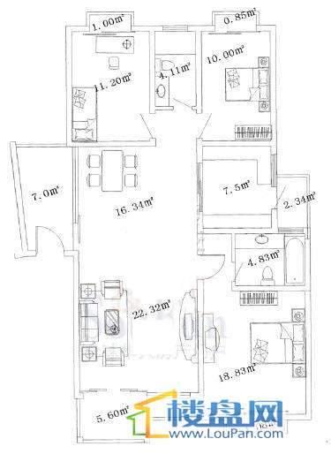 贝地卢加诺 贝地卢加诺3室2厅2卫1厨户型图