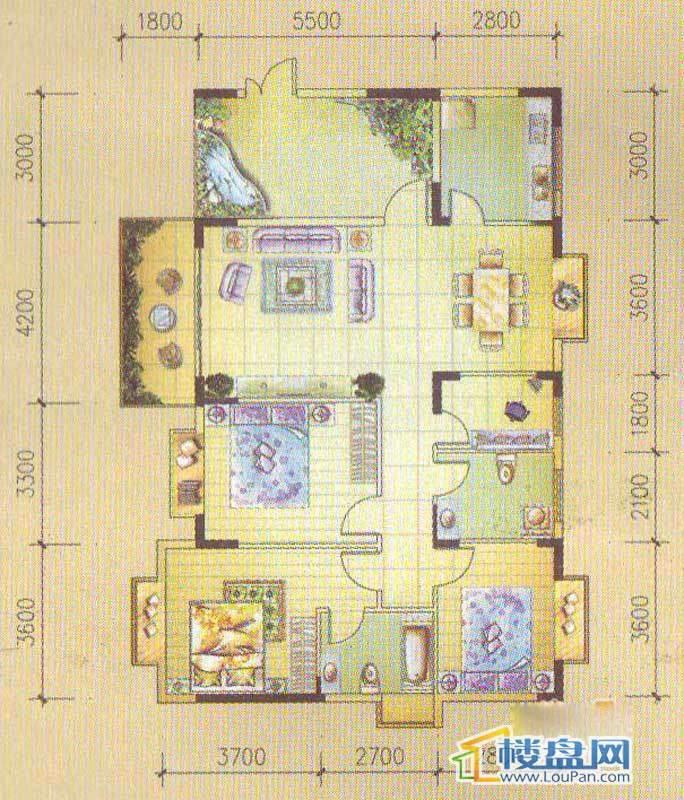 怡馨新寓1栋1-2户型3室2厅2卫1厨