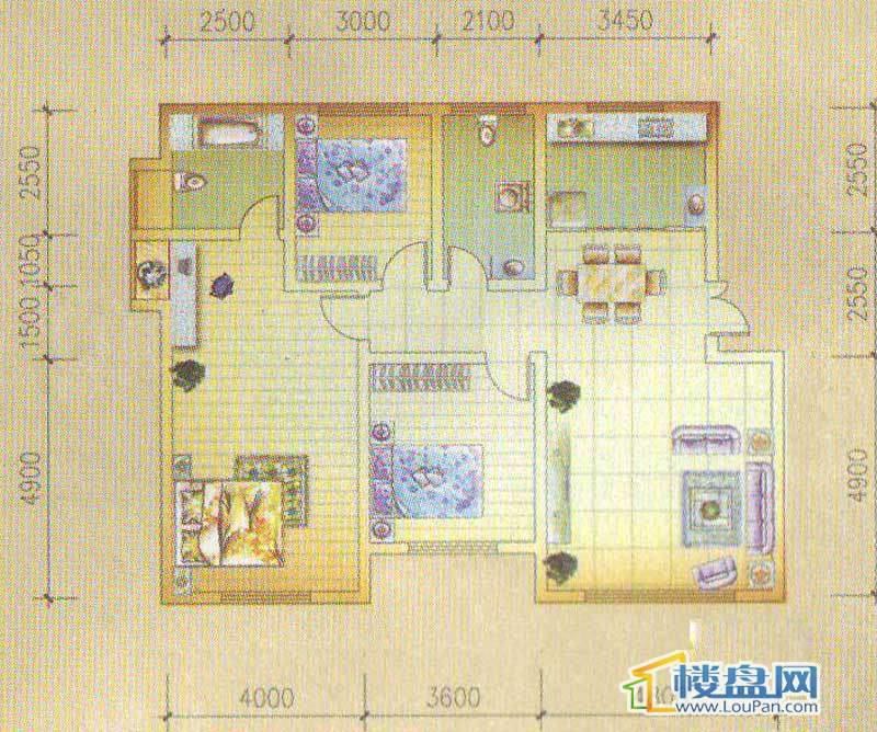 怡馨新寓1栋1单元1号房3室2厅2卫1厨