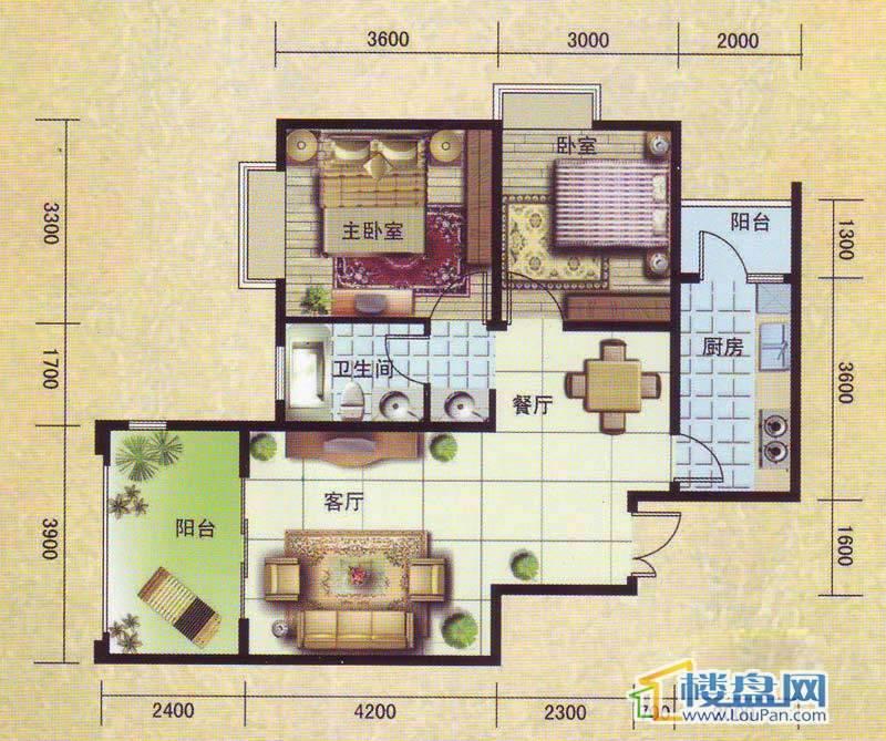 洛卡小城户型2室2厅1卫1厨
