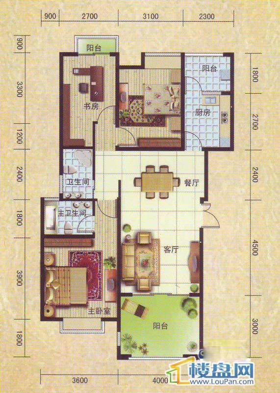 洛卡小城户型3室2厅2卫1厨
