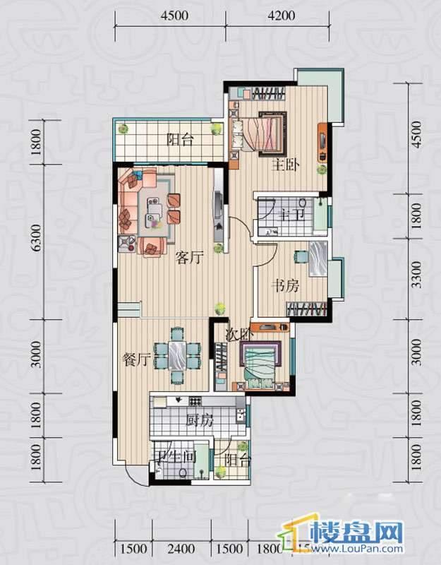 阳光领地B户型3室2厅1卫1厨