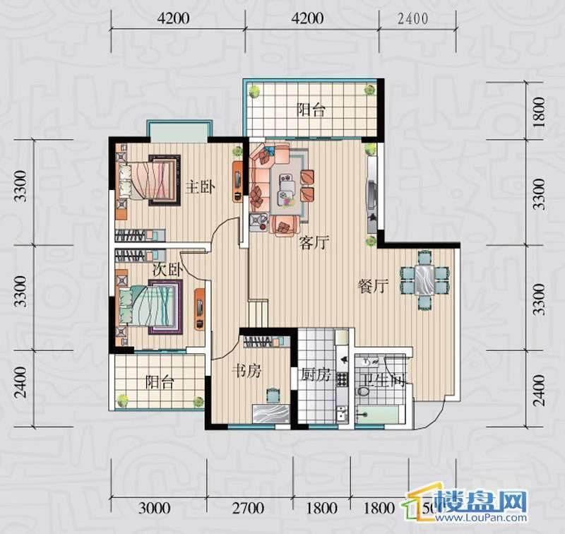 阳光领地E户型3室2厅1卫1厨
