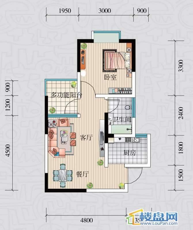 阳光领地F2室2厅1卫1厨