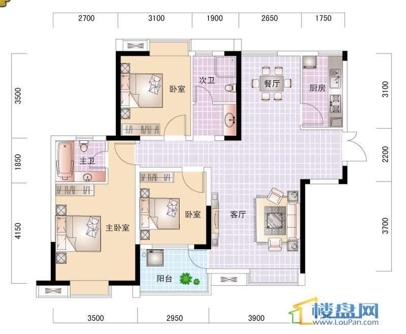 世纪城V区5#/6#楼2- 面积:90.12m2