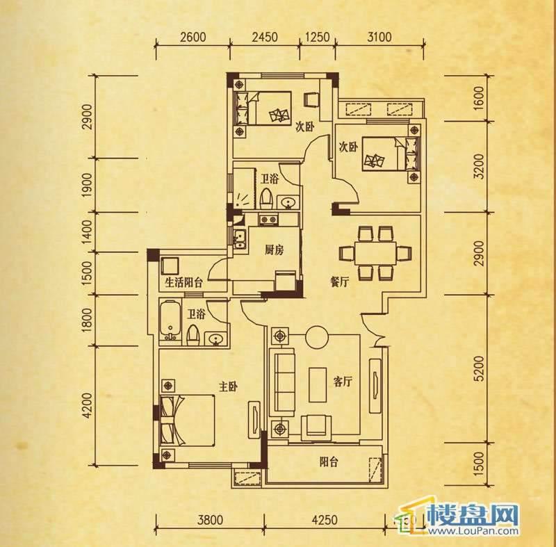 米兰春天C-2户型3室2厅2卫1厨