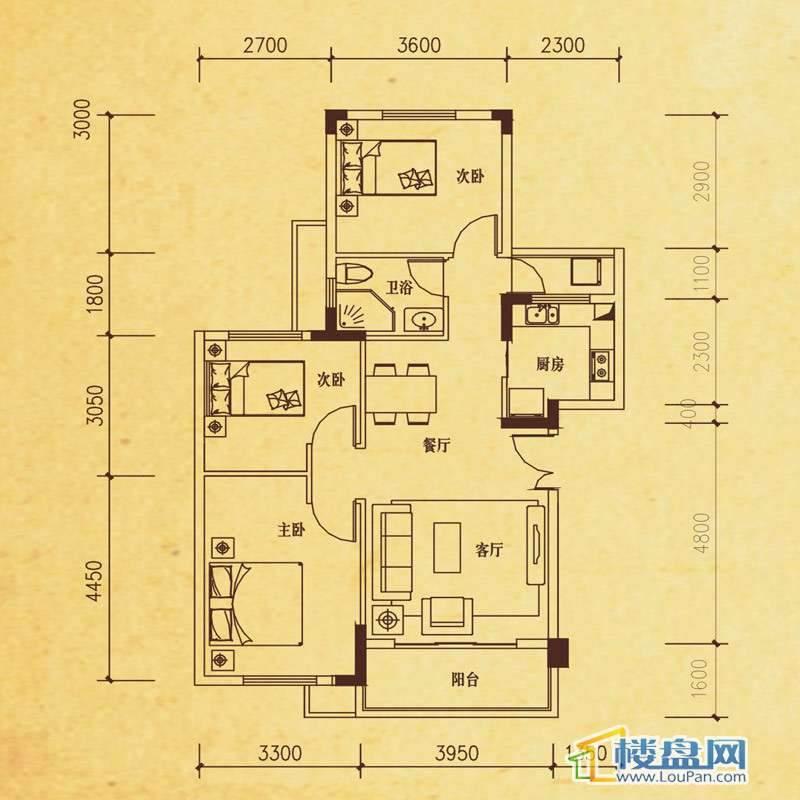 米兰春天C-3户型3室2厅1卫1厨