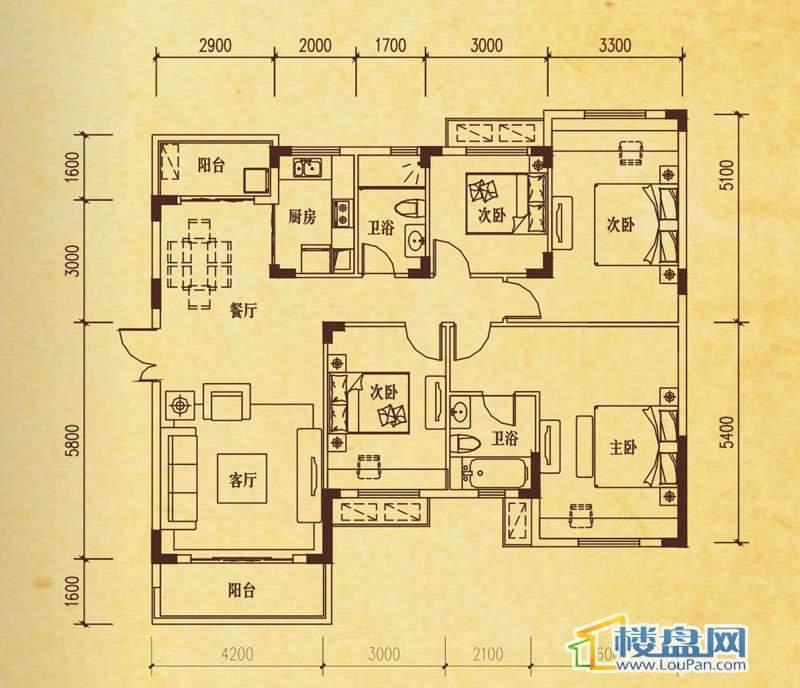米兰春天D-1户型4室2厅2卫1厨