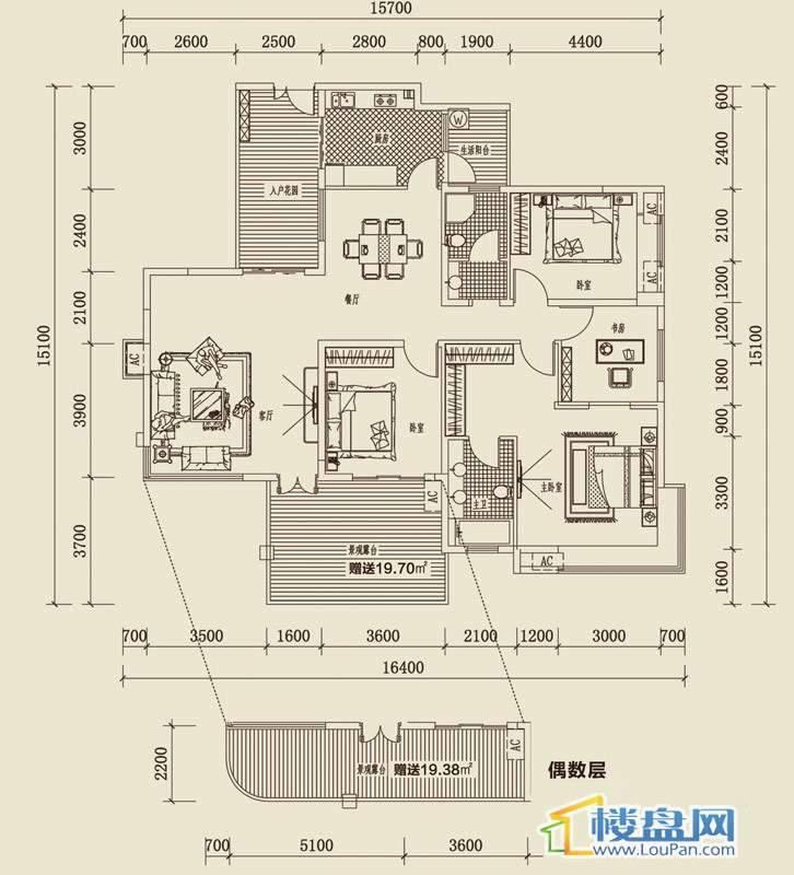 金龙国际花园三期天鹅堡43#-2奇偶层-24室2厅2卫1厨