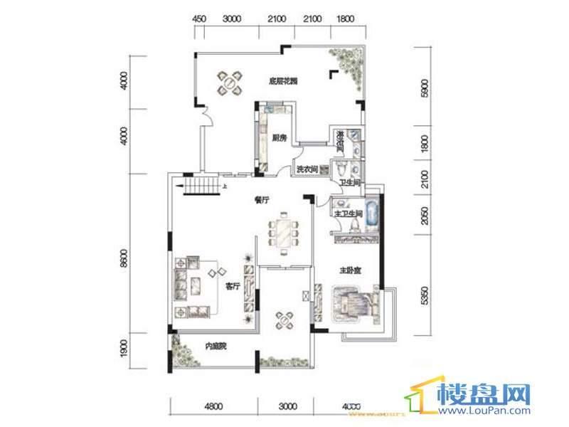 观山湖1号17栋底层亲地叠墅2号户型二层4室2厅4卫1厨