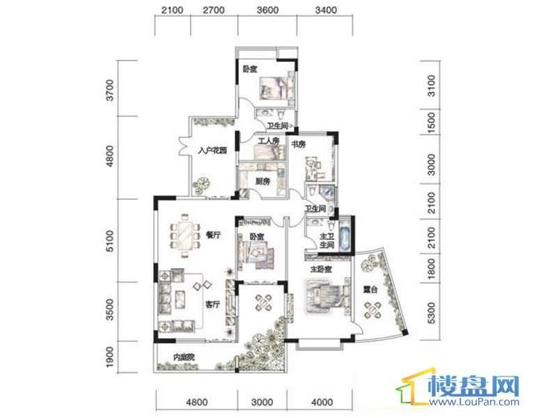观山湖1号11栋平层庭院洋房3-5层一单元4室2厅3卫1厨