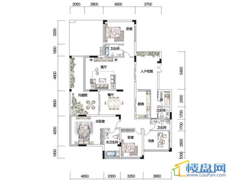 观山湖1号17栋平层庭院洋房4层2号户型4室2厅4卫1厨