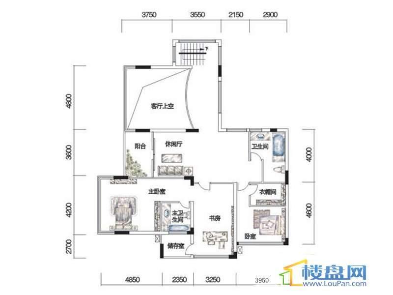 观山湖1号17栋底层亲地叠墅1号户型二层6室3厅5卫1厨
