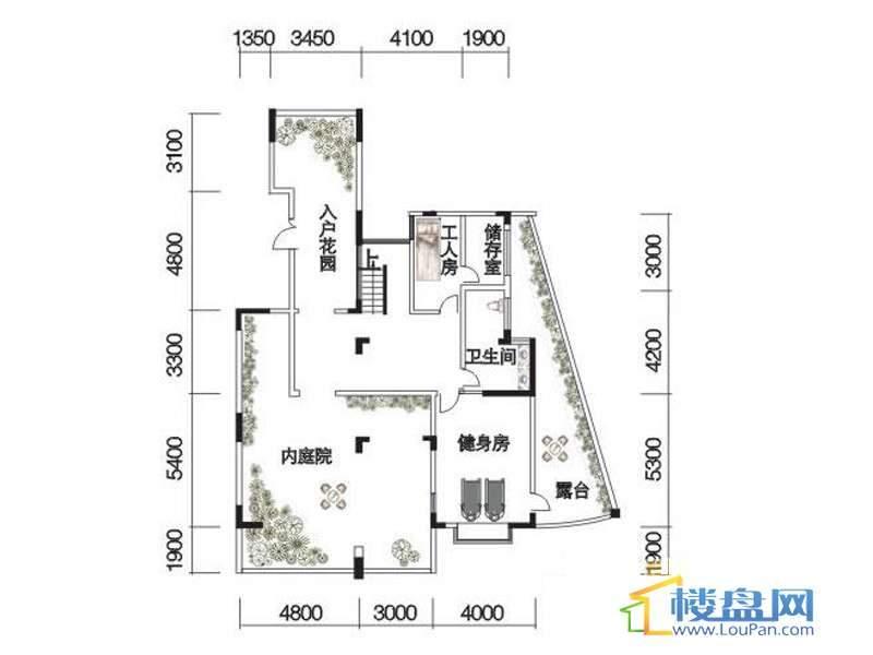 观山湖1号17栋底层亲地叠墅2号户型一层4室2厅4卫1厨