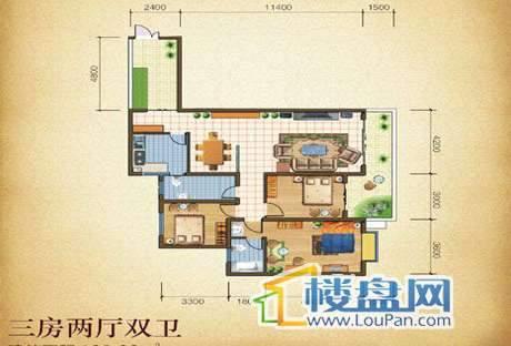 铭君华府3室2厅2卫 138.33m²