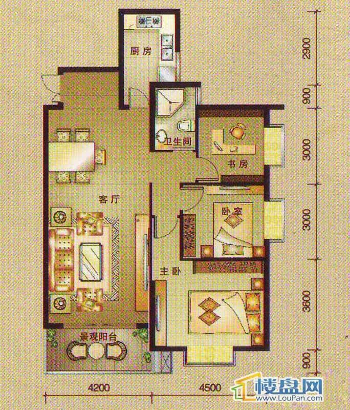 南湖观邸A3户型3室2厅1卫1厨