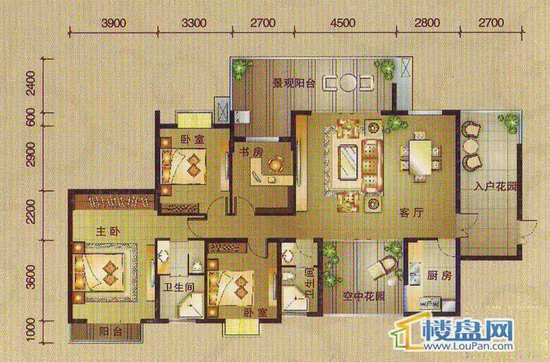 南湖观邸A1户型4室2厅2卫1厨