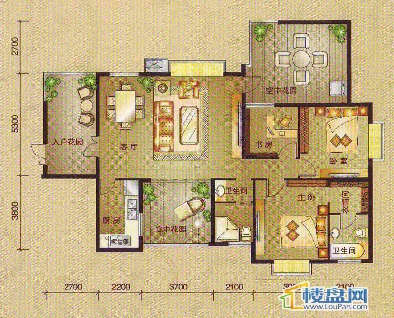 南湖观邸B2户型3室2厅2卫1厨