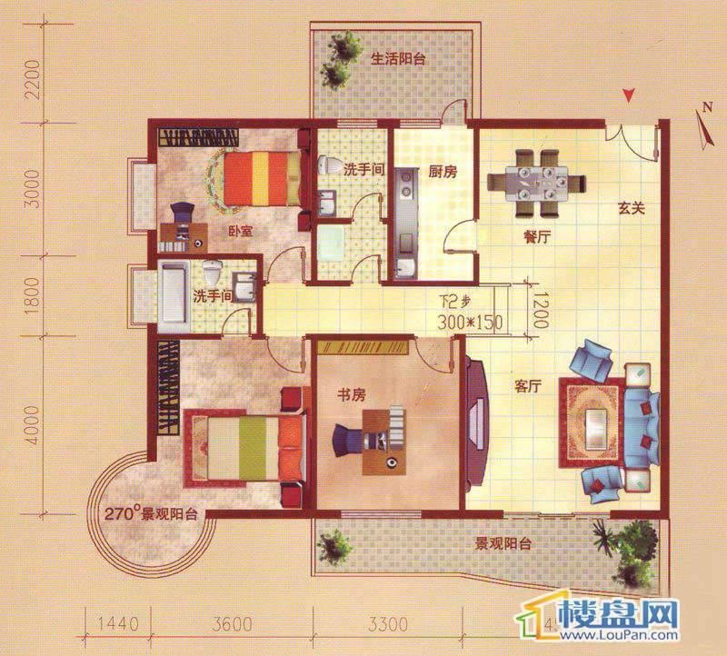 裕阳大厦B户型3室2厅2卫1厨