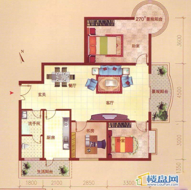 裕阳大厦一单元6号房F户型3室2厅1卫1厨
