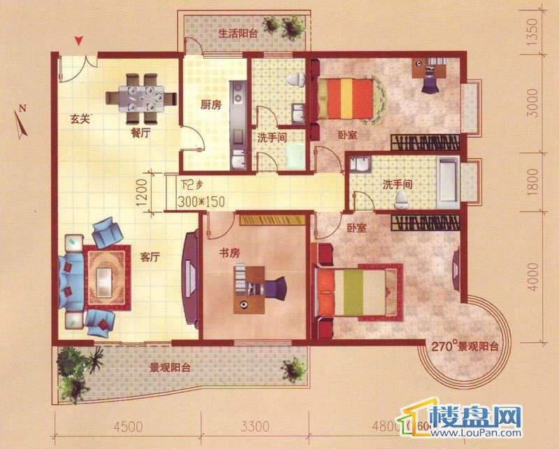 裕阳大厦A户型3室2厅2卫1厨