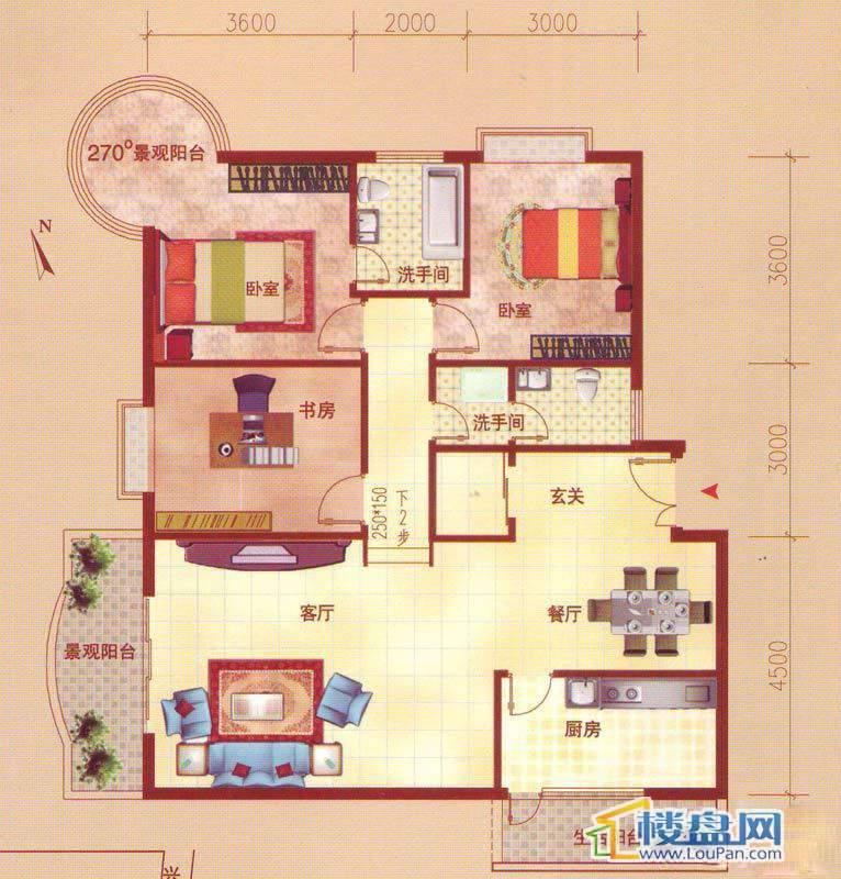 裕阳大厦二单元3号房C户型3室2厅2卫1厨