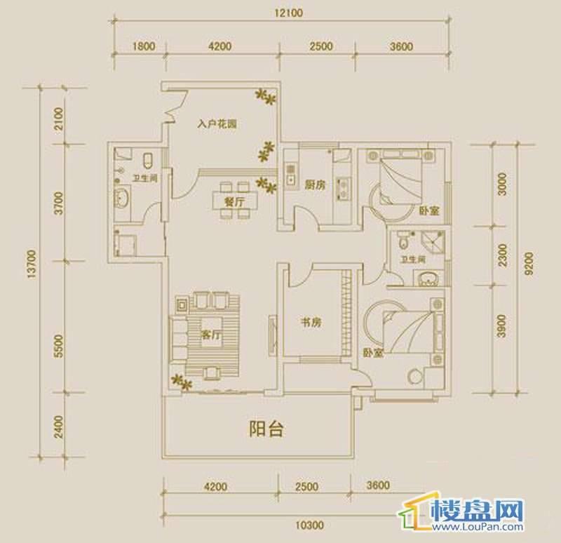 金宇紫林广场O户型3室2厅2卫1厨