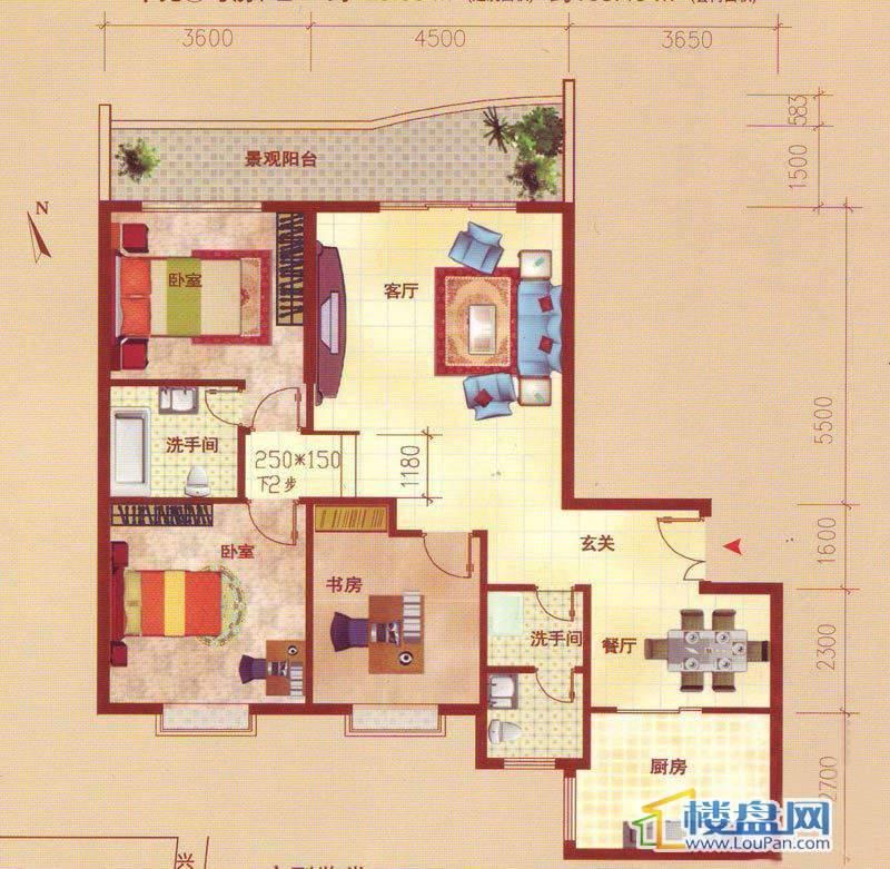 裕阳大厦D户型3室2厅2卫1厨